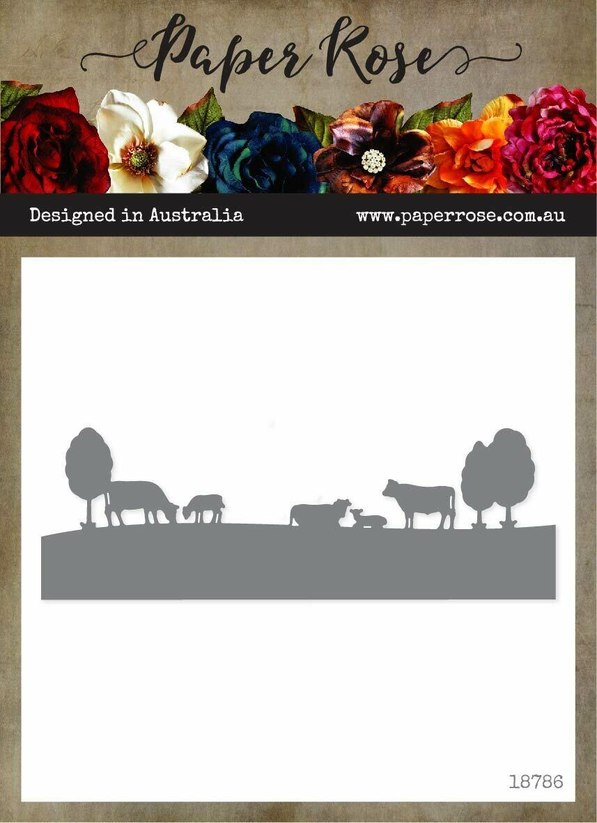 Paper Rose - Farm Border 1 Cows Metal Die
