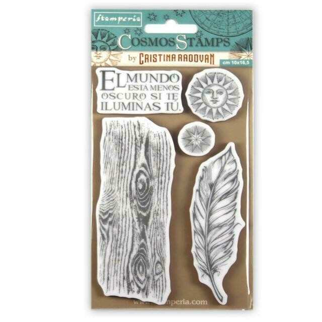 Stamperia Cosmos Feather - HD Unmounted Rubber Stamp 10x16.5cm