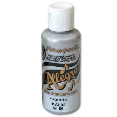 Stamperia Allegro Acrylic Paint - Silver 59ml