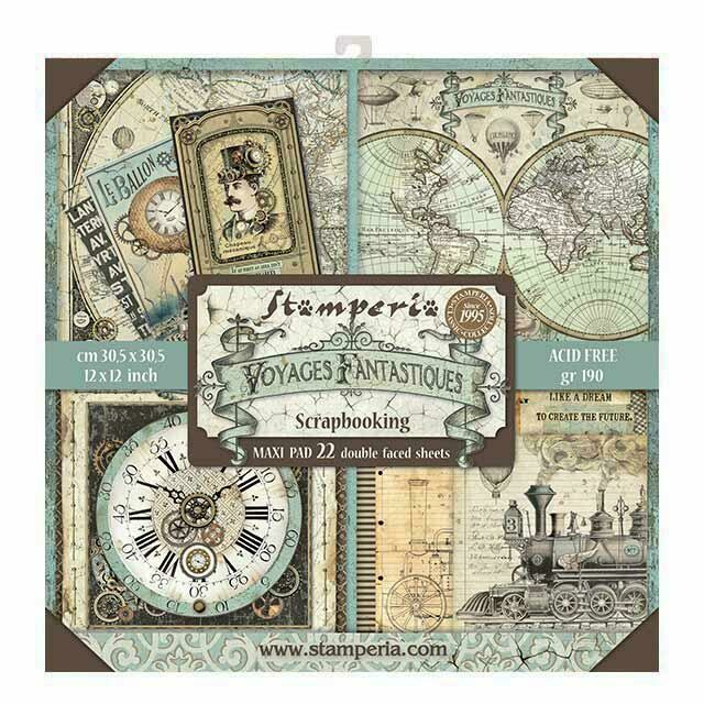 "Voyages Fantastiques - Stamperia Double-sided Block 22 Sheet Paper Pad 12""x12"""