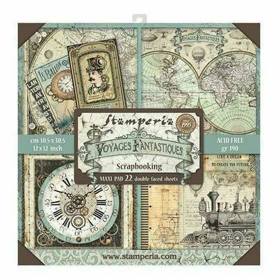 Voyages Fantastiques - Stamperia Double-sided Block 22 Sheet Paper Pad 12