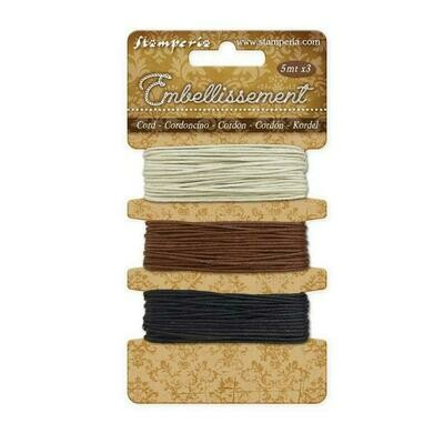 Stamperia - Ropes (Ivory, Brown, Black) 5m each