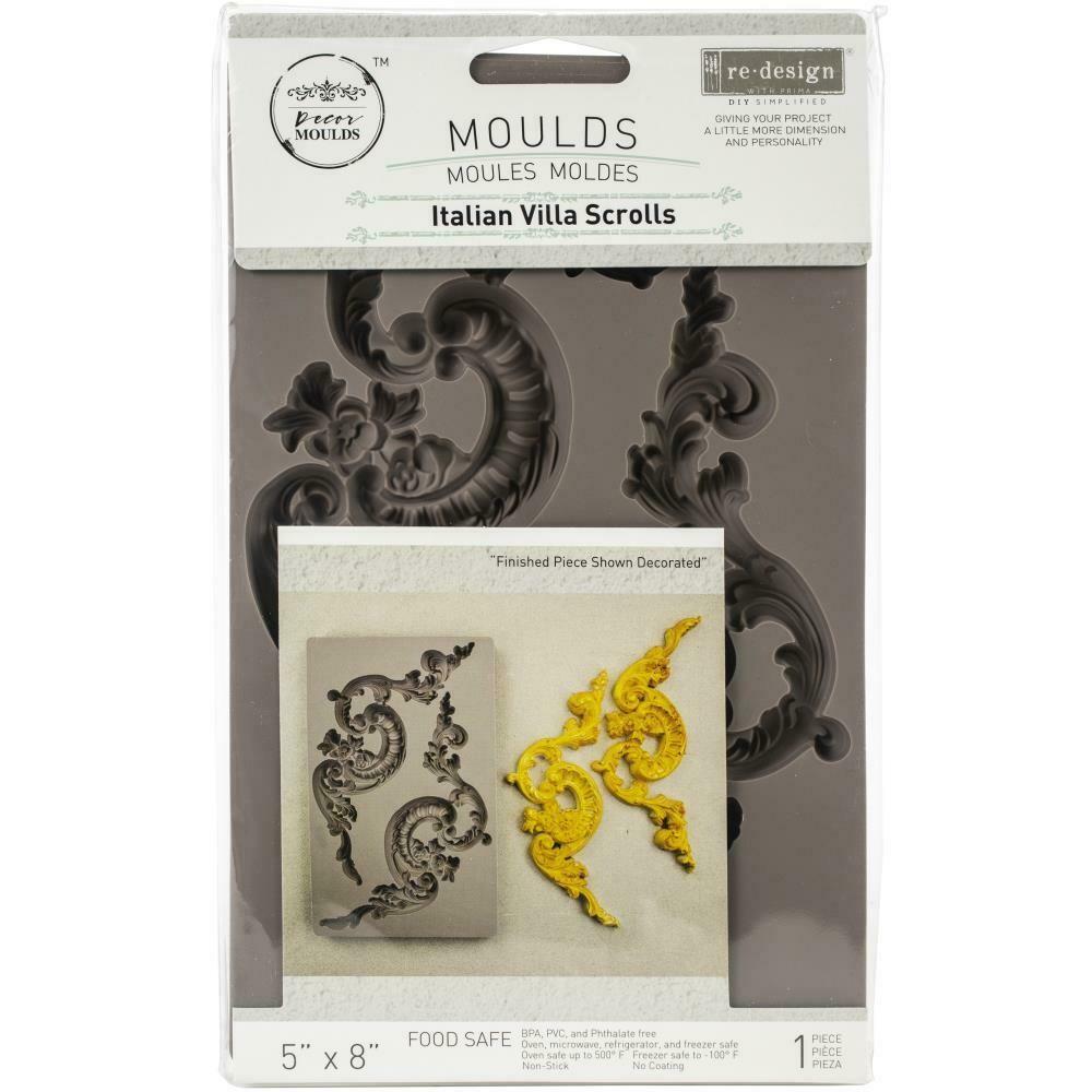 "Prima Marketing Re-Design Mould 5""X8""X8mm - Italian Villa Scrolls"