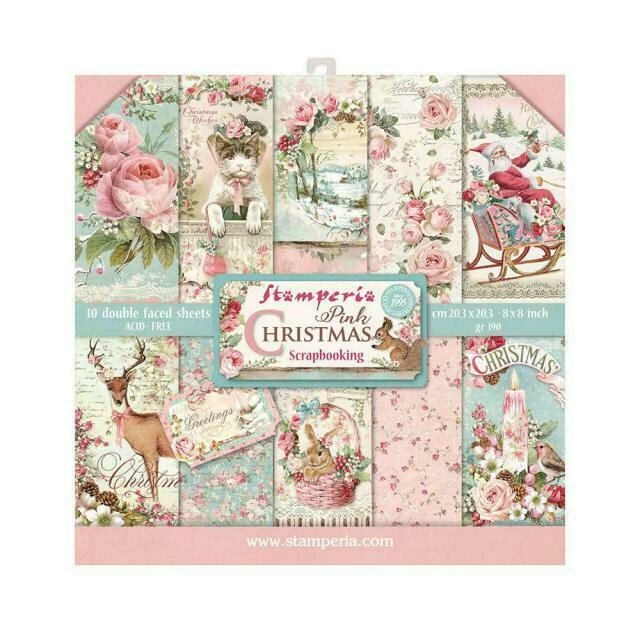 "Pink Christmas - Stamperia Double-sided Paper Pad 8""x8"""