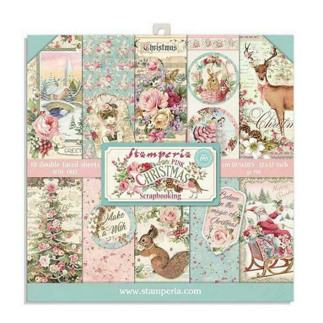 """Pink Christmas II - Stamperia Double-sided Paper Pad 8""""x8"""""""