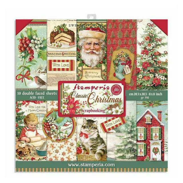 "Classic Christmas - Stamperia Double-sided Paper Pad 8""x8"""