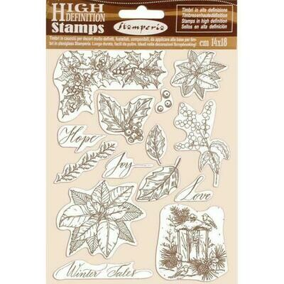 Stamperia Poinsettia - HD Unmounted Rubber Stamp 14x18cm (Winter Tales)