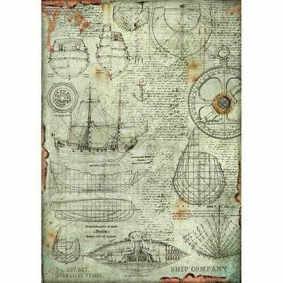 Stamperia A3 Rice Paper Sheet - Sea World Boat Project