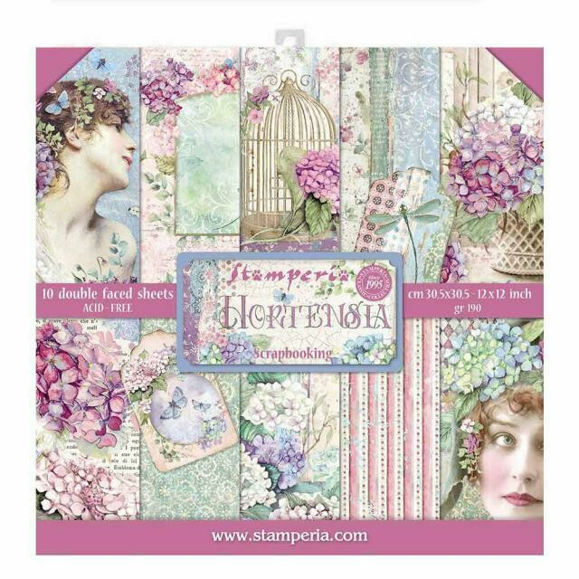 "Hortensia - Stamperia Double-sided Paper Pad 12""x12"""