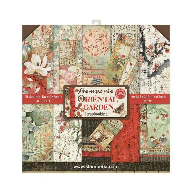 "Oriental Garden - Stamperia Double-sided Paper Pad 8""x8"""