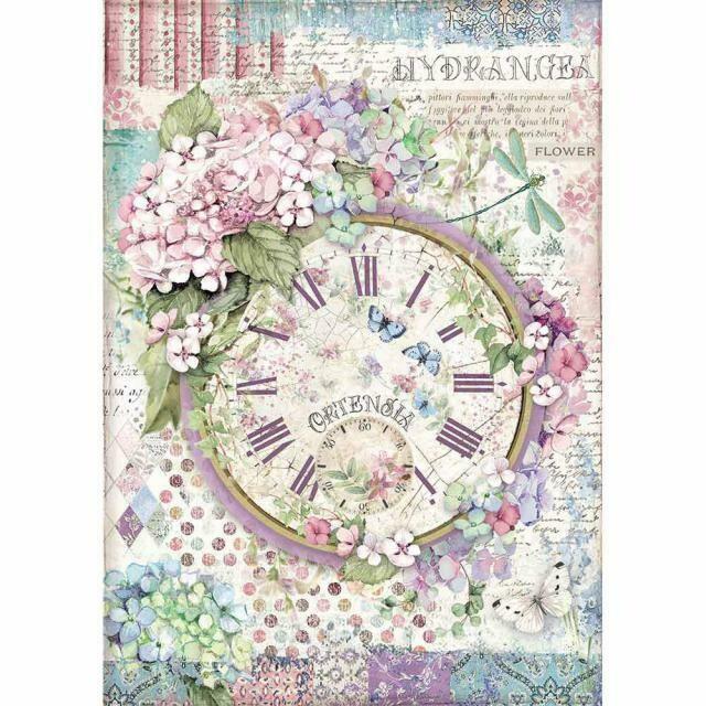 Stamperia A4 Rice Paper Sheet - Clock (Hortensia)