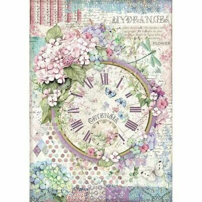 Stamperia A4 Rice Paper Sheet - Clock (Hortensia)