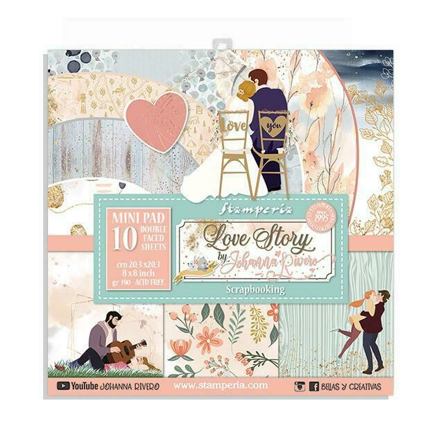 "Love Story - Stamperia Double-sided Paper Pad 8""x8"""