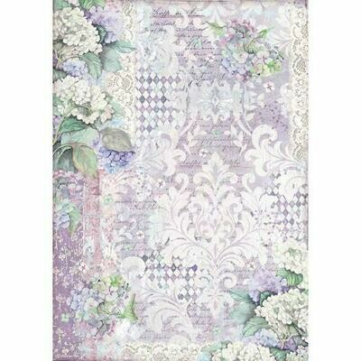 Stamperia A3 Rice Paper Sheet - Hortensia Wallpaper