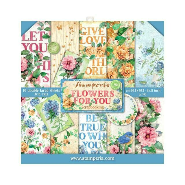 "Flowers for You - Stamperia Double-sided Paper Pad 8""x8"""