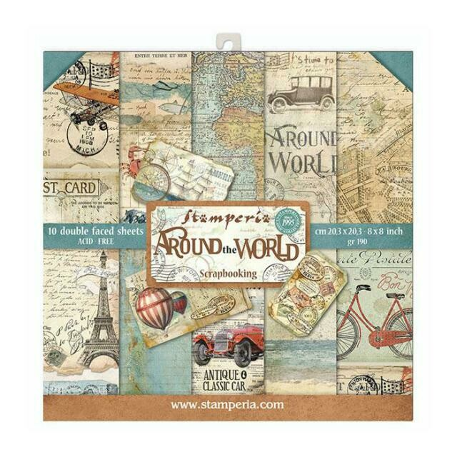 """Around the World - Stamperia Double-sided Paper Pad 8""""x8"""""""
