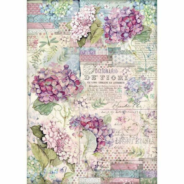 Stamperia A3 Rice Paper Sheet - Hortensia