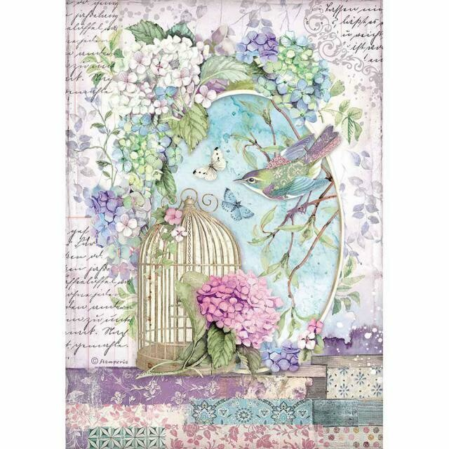 Stamperia A4 Rice Paper Sheet - Cage (Hortensia)