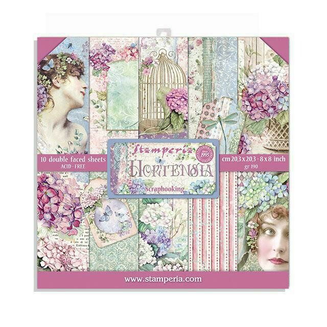 """Hortensia - Stamperia Double-sided Paper Pad 8""""x8"""""""