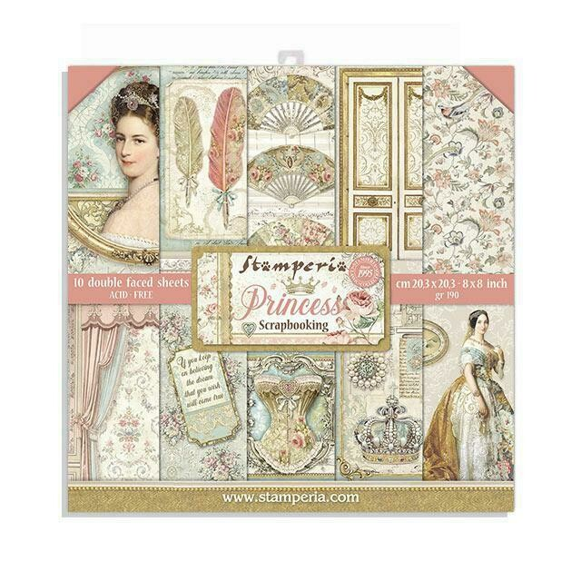"Princess - Stamperia Double-sided Paper Pad 8""x8"""