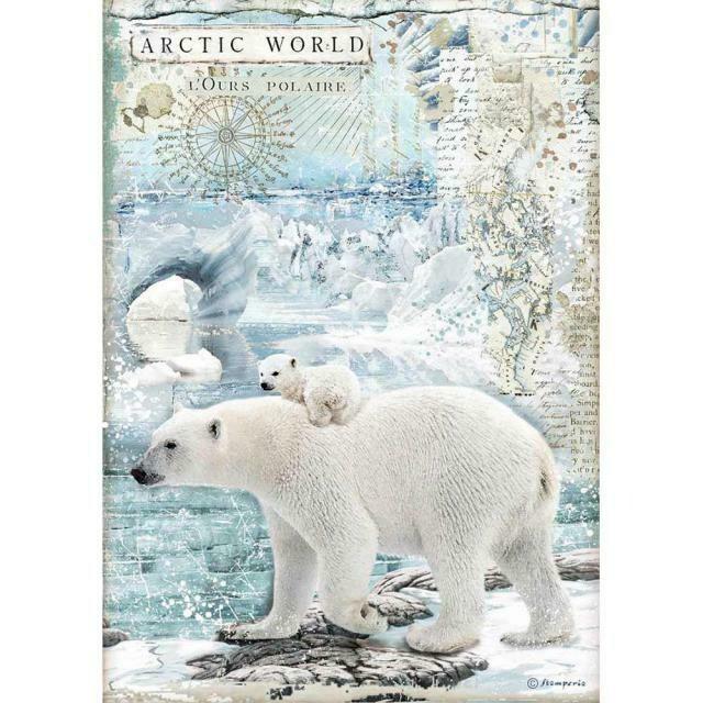 Stamperia A4 Rice Paper Sheet - Arctic World Polar Bear