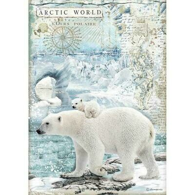 Stamperia A4 Rice Paper Sheet - Arctic World Polar Bear