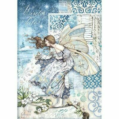 Stamperia A4 Rice Paper Sheet - Fairy in the Wind (Winter Tales)
