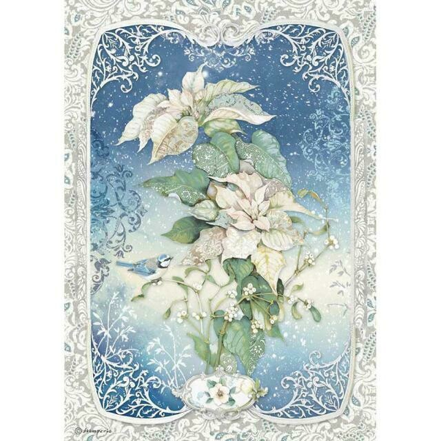 Stamperia A4 Rice Paper Sheet - Poinsettia (Winter Tales)