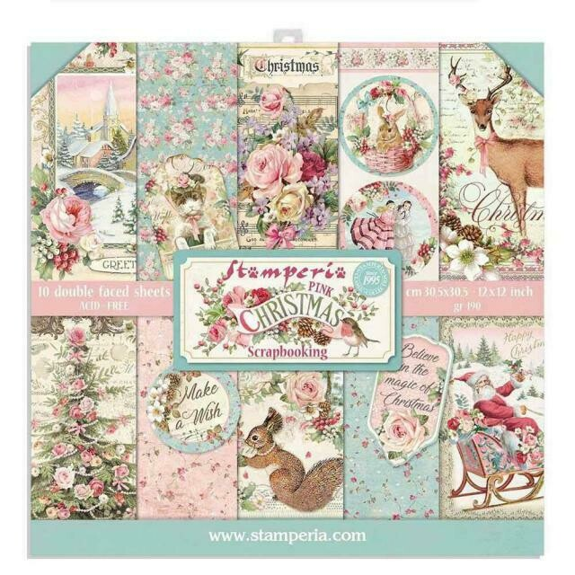 "Pink Christmas II - Stamperia Double-sided Paper Pad 12""x12"""
