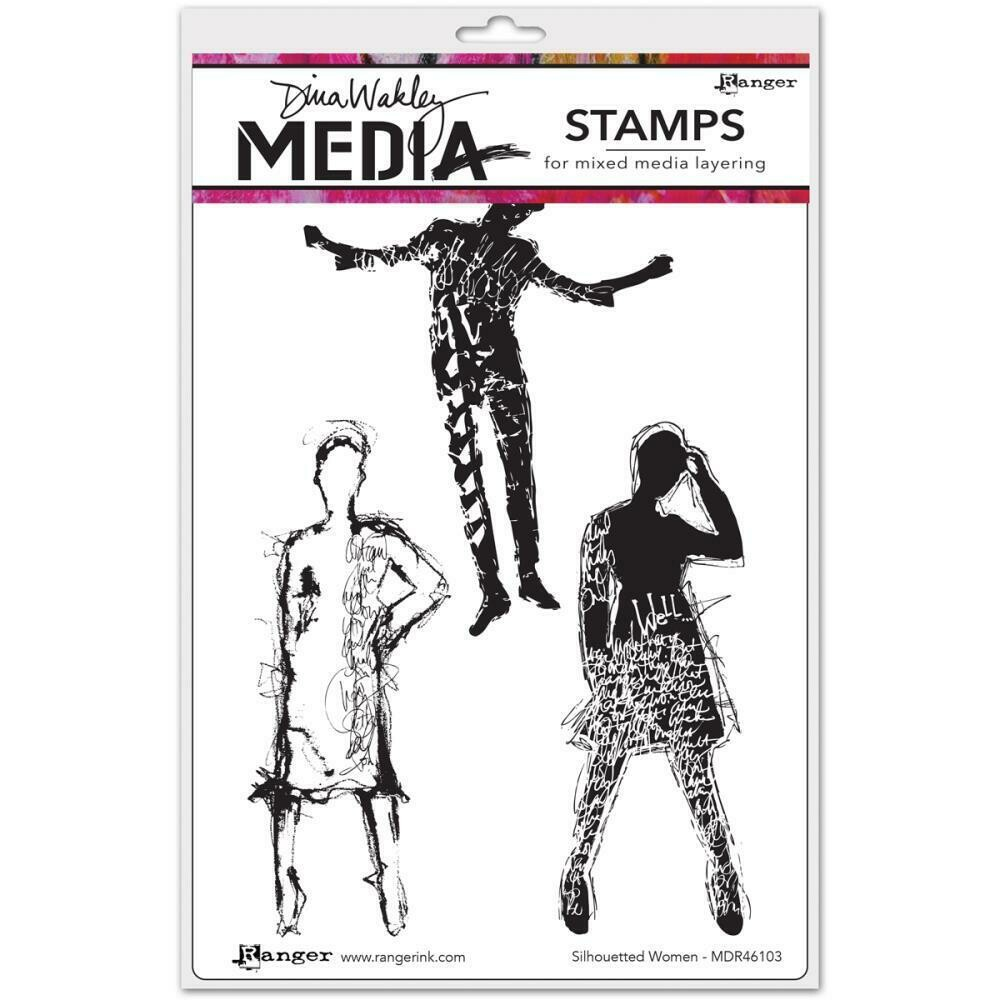 Dina Wakley Unmounted Stamps - Silhouetted Women
