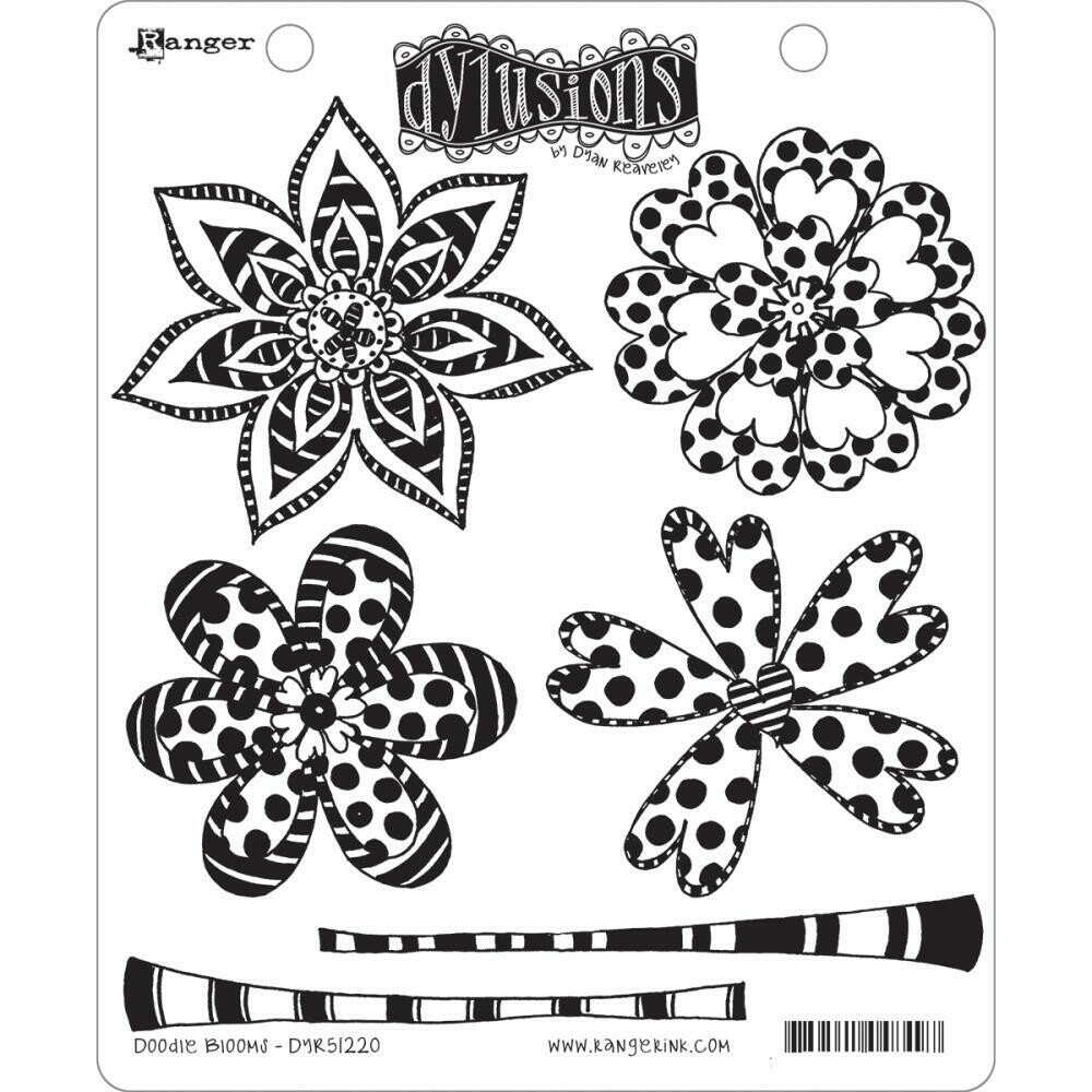 Dyan Reaveley's Dylusions Cling Stamp - Doodle Blooms