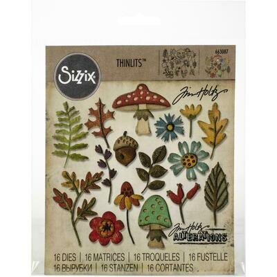 Sizzix Thinlits Dies By Tim Holtz 4/Pkg - Funky Foliage