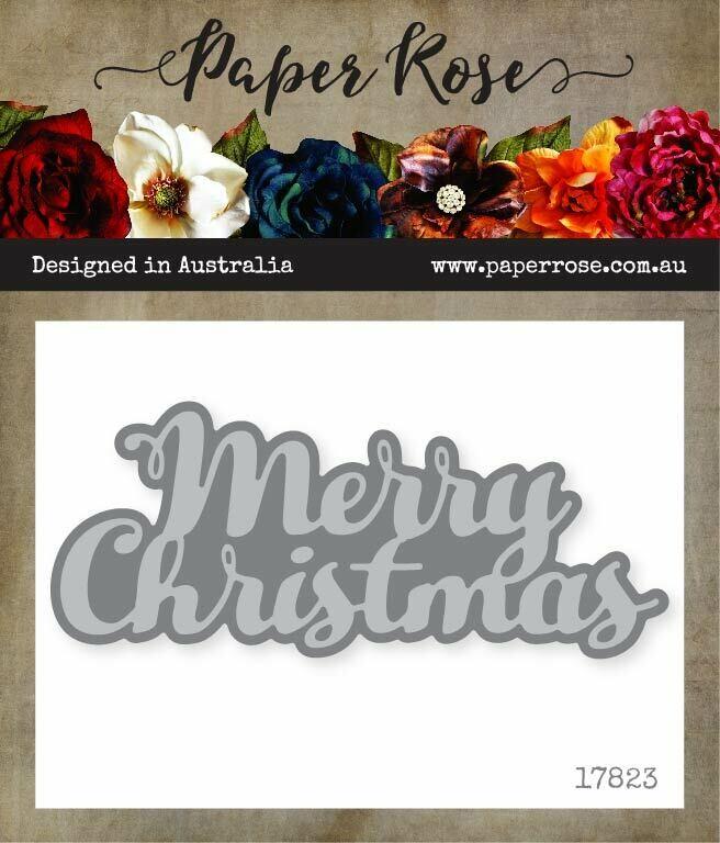 Paper Rose Metal Die - Merry Christmas Text