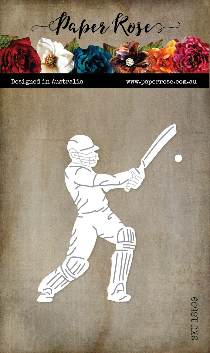 Paper Rose Metal Die- Cricket Player with Bat & Ball