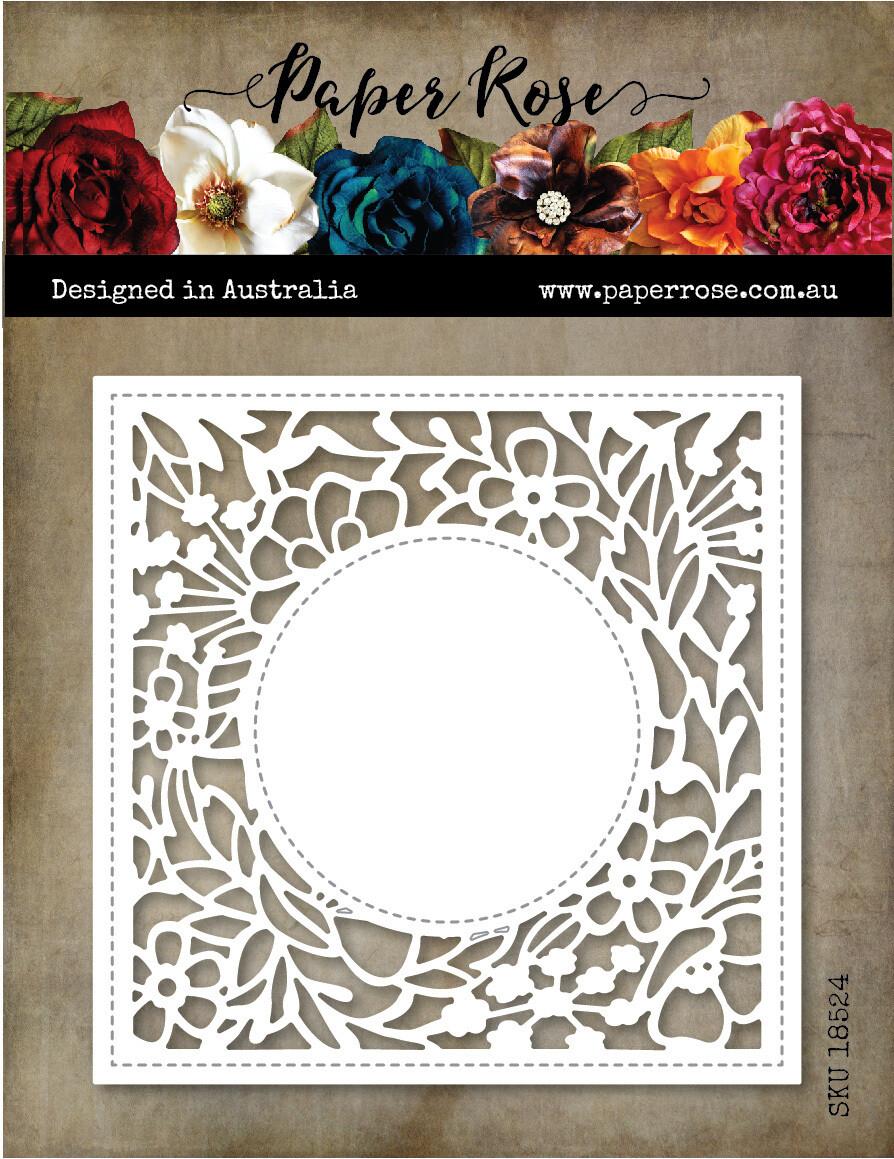 Paper Rose Metal Die- Amberley Floral Square