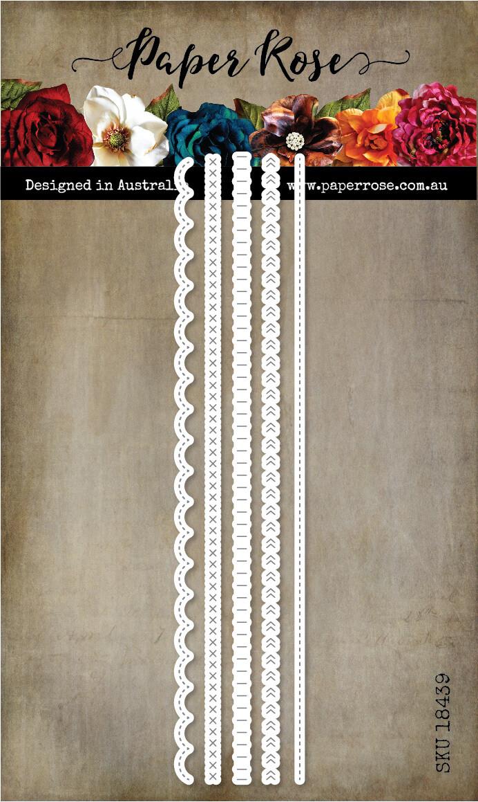 Paper Rose Metal Die- Stitched Borders