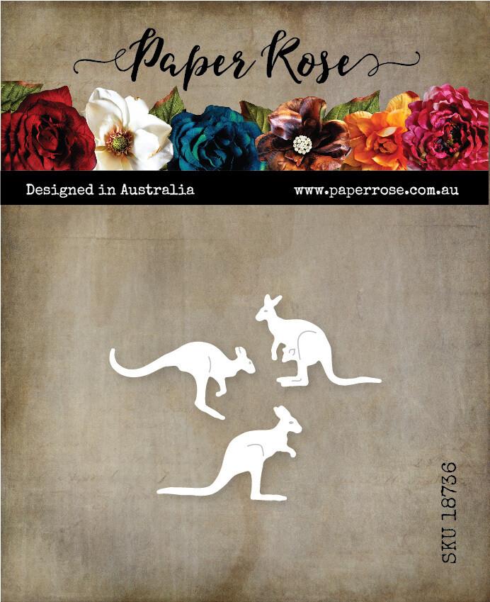 Paper Rose Metal Die- Kangaroo Trio Small