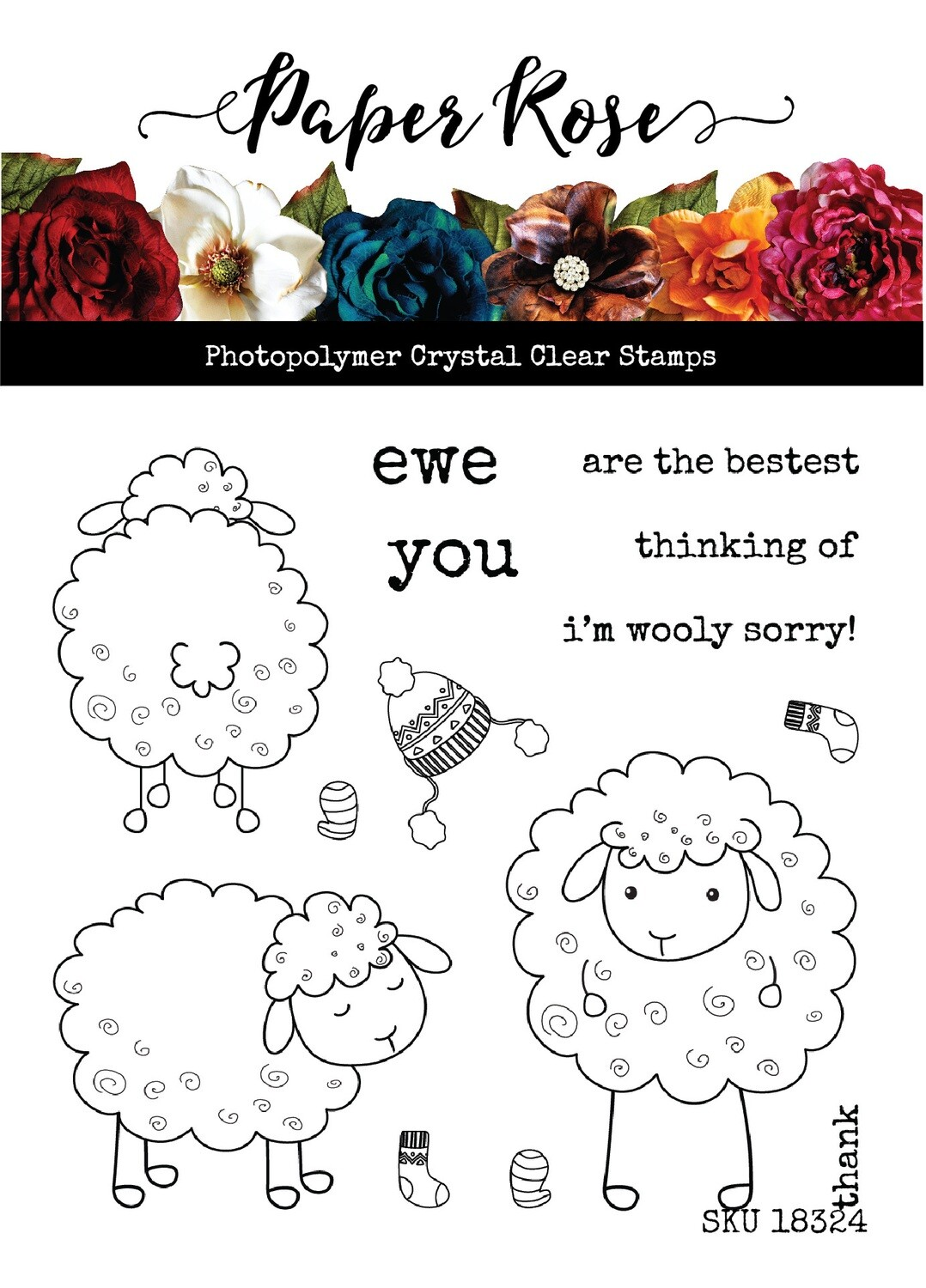"Paper Rose - Wooly Sorry 4""x4"" Clear Stamp Set"