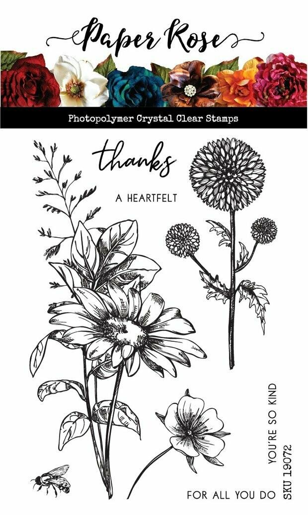 "Paper Rose - Sketchy Floral - Thanks 4"" x 6"" Clear Stamp Set"