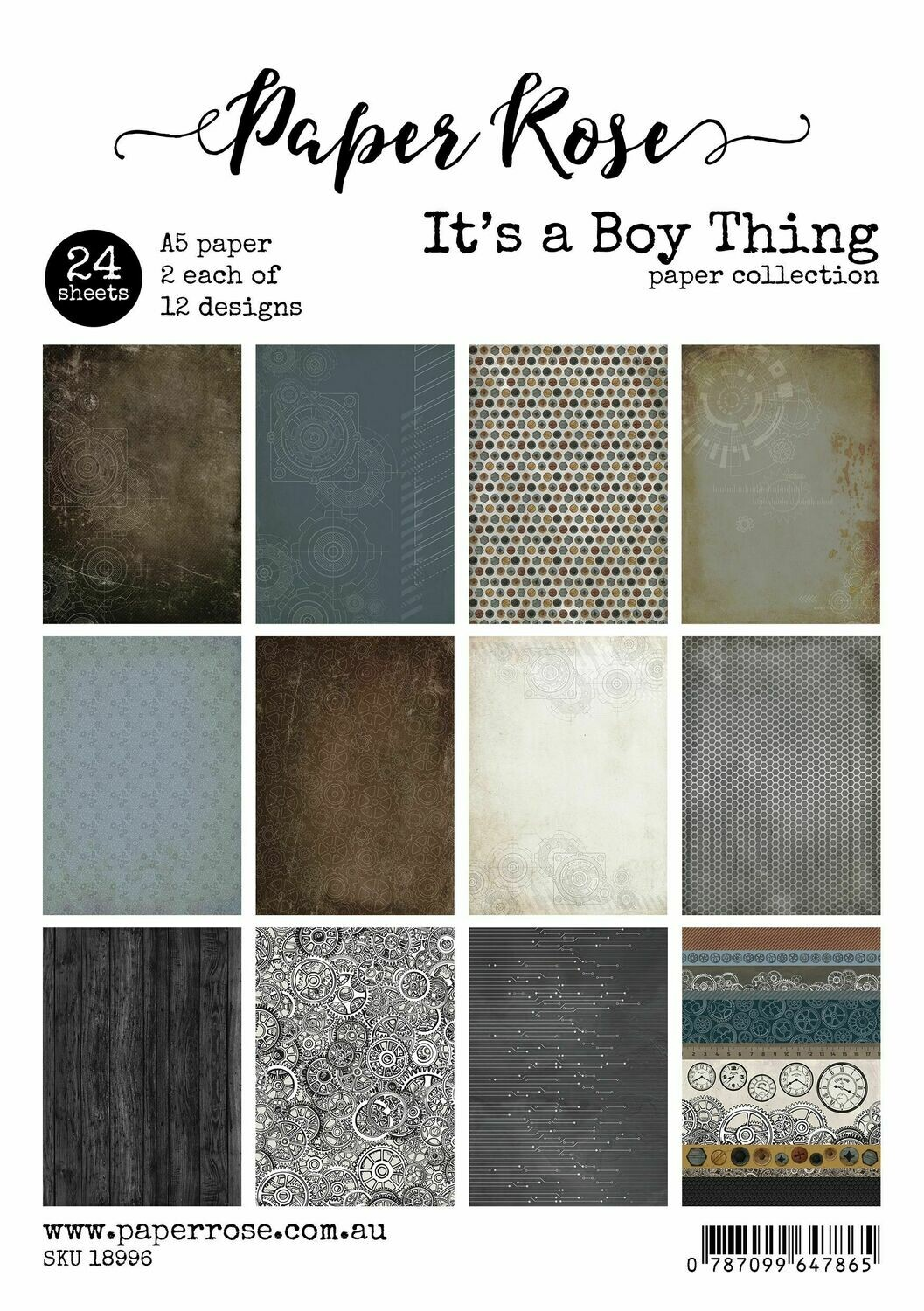 Paper Rose A5 24pc Paper Pack - It's a Boy Thing