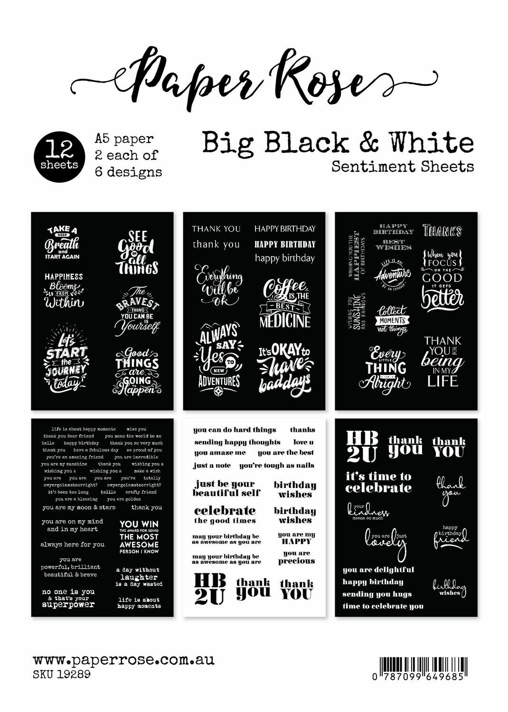 Paper Rose A5 12pc Paper Pack - Big Black & White