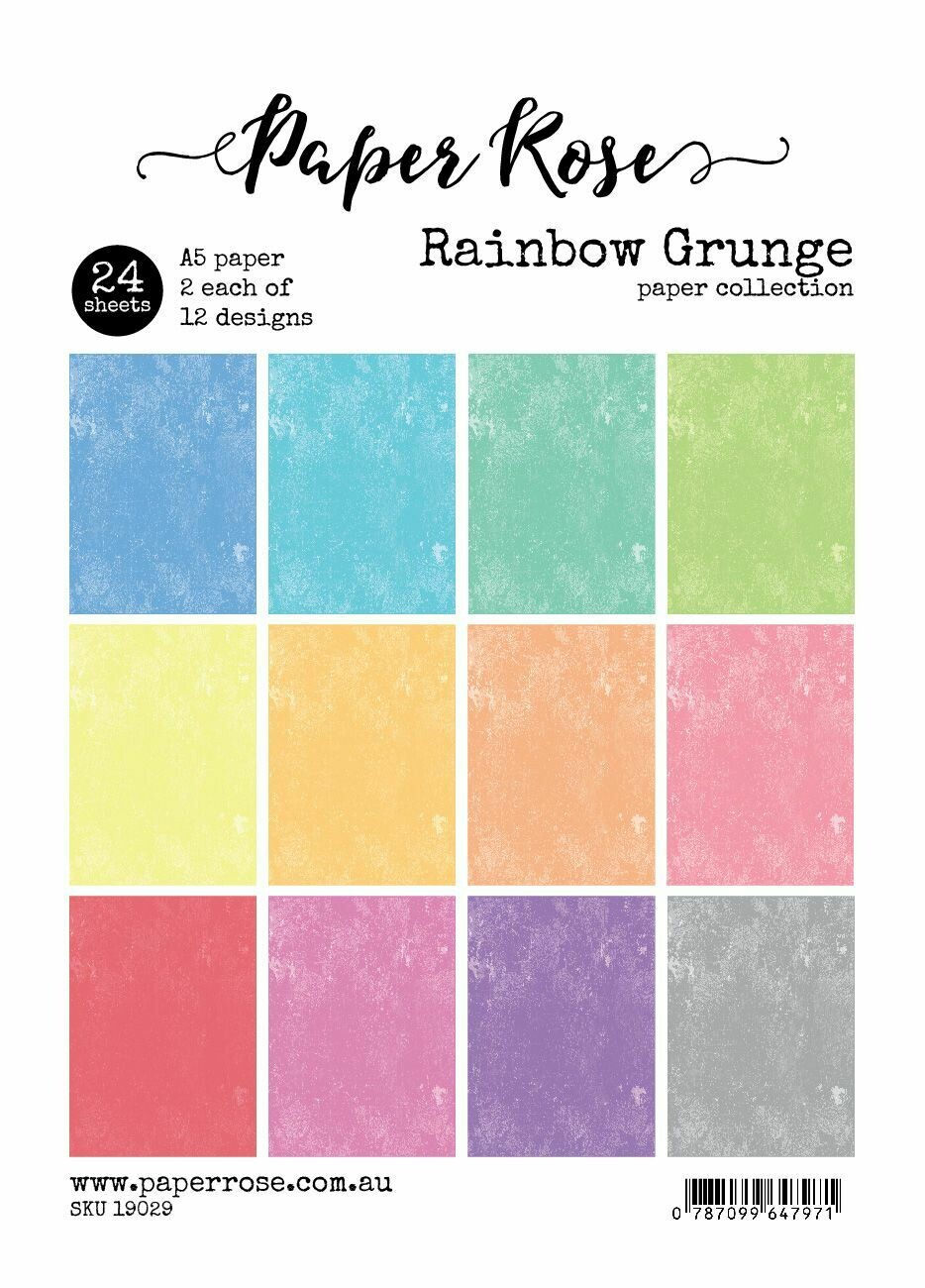 Paper Rose A5 24pc Paper Pack - Rainbow Grunge