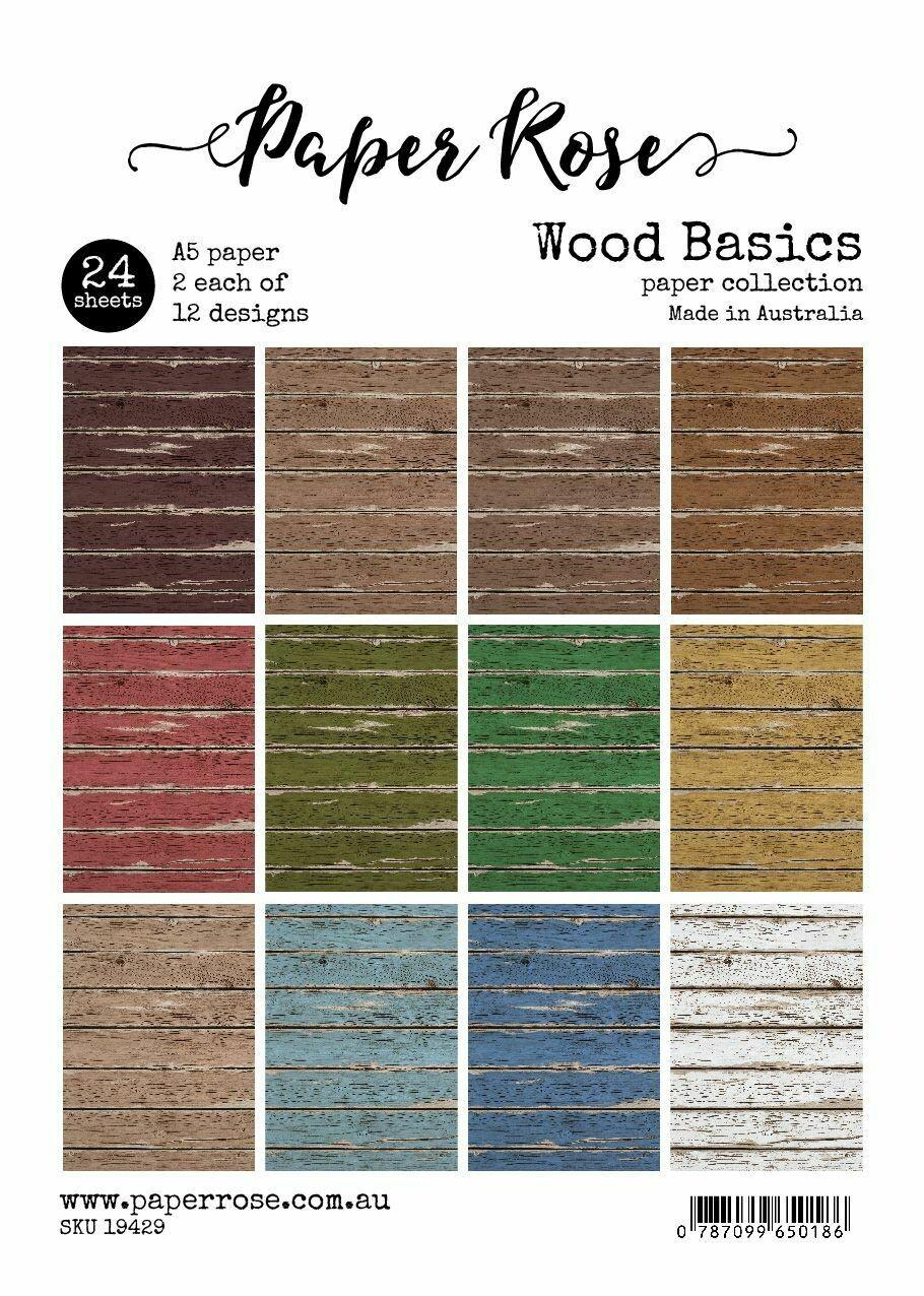 Paper Rose A5 24pc Paper Pack - Wood Basics