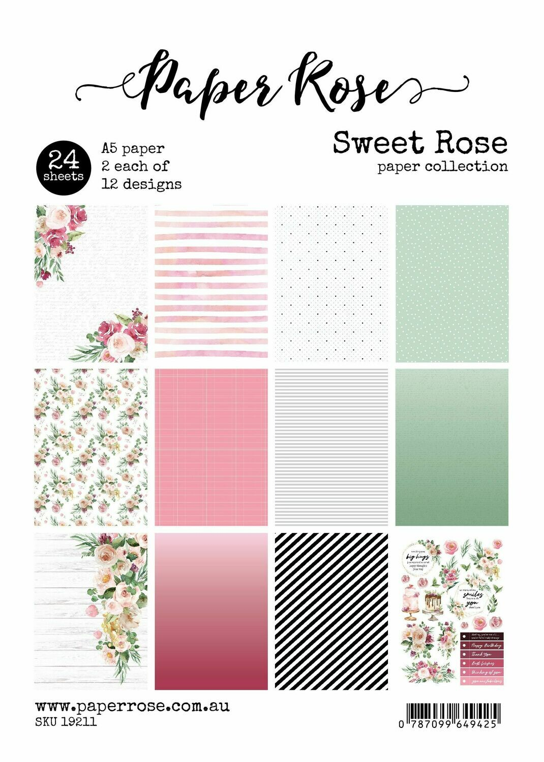 Paper Rose A5 24pc Paper Pack - Sweet Rose