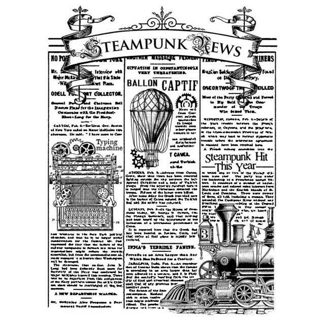 Steampunk News - Mixed Media Cling Stamp