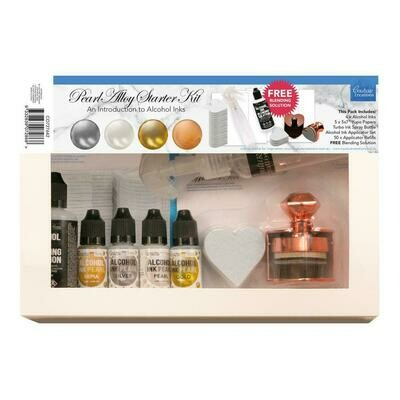 Couture Creations - Alcohol Ink - Pearl Starter Kit - 4 inks, blending sol, applicator tool + more