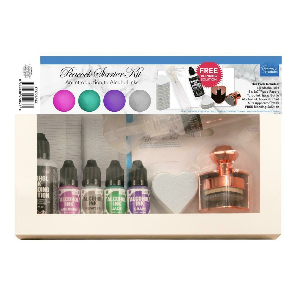 Couture Creations - Alcohol Ink - Peacock Starter Kit - 4 inks, blending sol, applicator tool + more