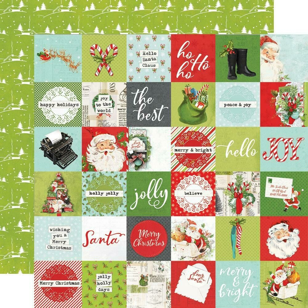 "Simple Vintage North Pole Double-Sided Cardstock 12""X12"" - 2""x2"" Elements"