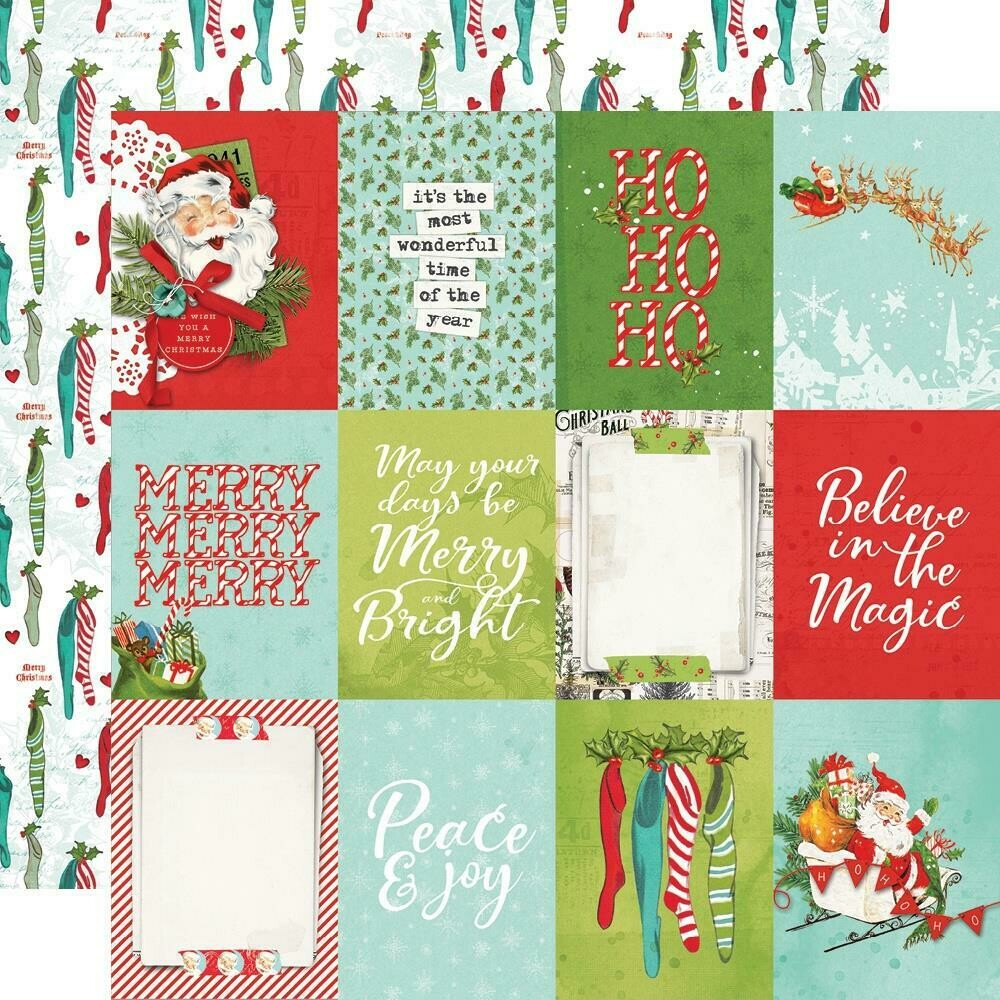 "Simple Vintage North Pole Double-Sided Cardstock 12""X12"" - 3""x4"" Elements"