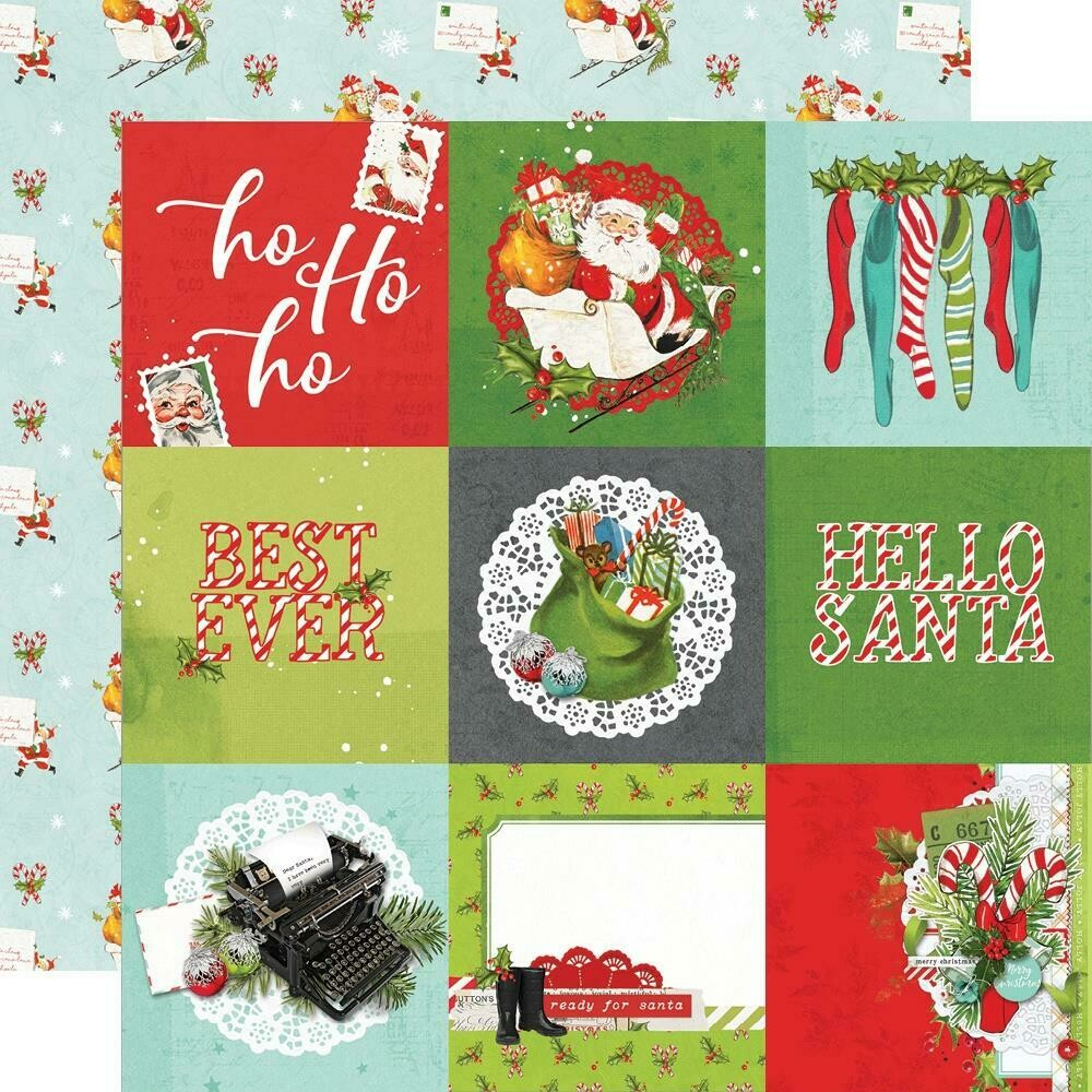 "Simple Vintage North Pole Double-Sided Cardstock 12""X12"" - 4""x4"" Elements"